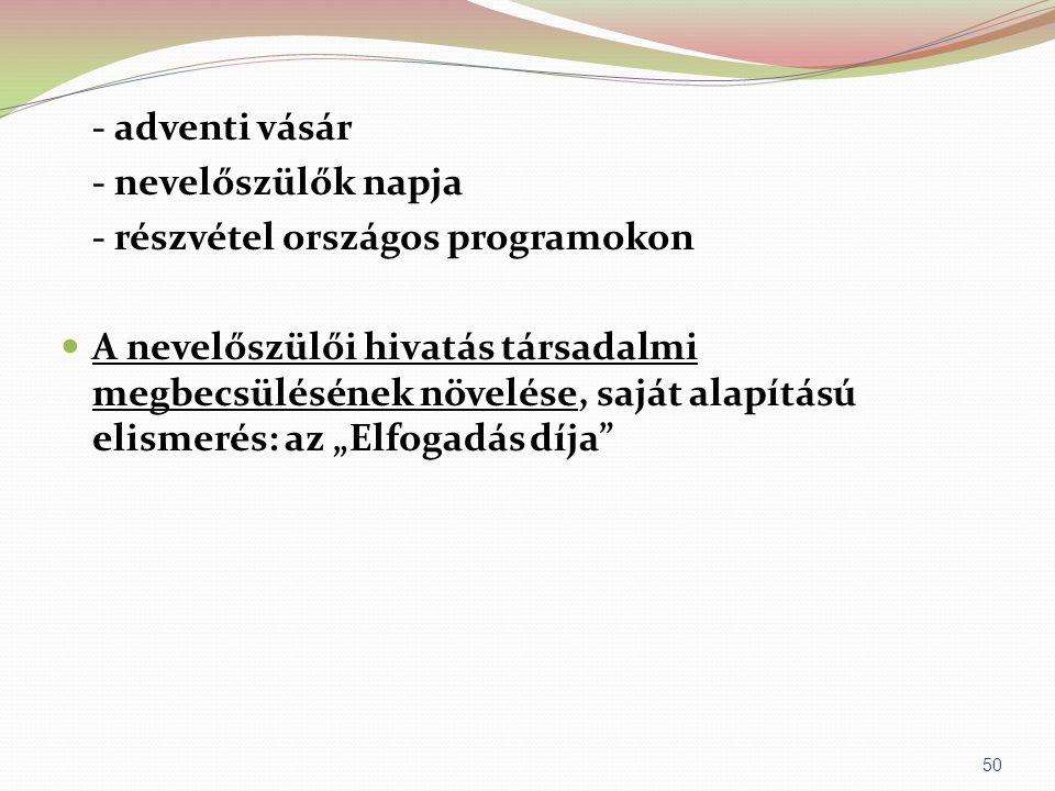 - adventi vásár - nevelőszülők napja - részvétel országos programokon  A nevelőszülői hivatás társadalmi megbecsülésének növelése, saját alapítású el
