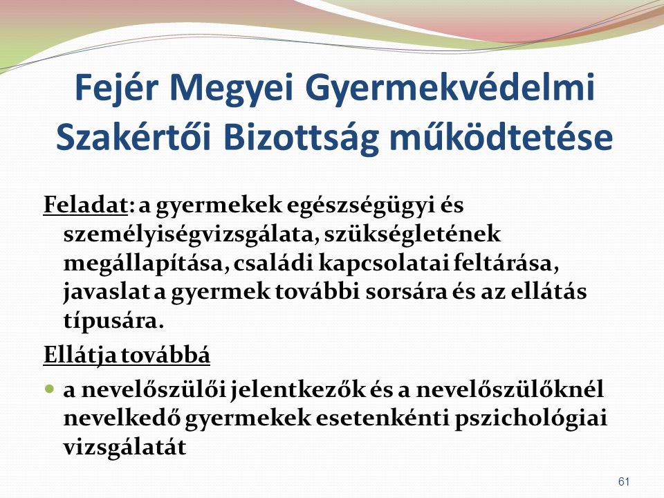 Fejér Megyei Gyermekvédelmi Szakértői Bizottság működtetése Feladat: a gyermekek egészségügyi és személyiségvizsgálata, szükségletének megállapítása,