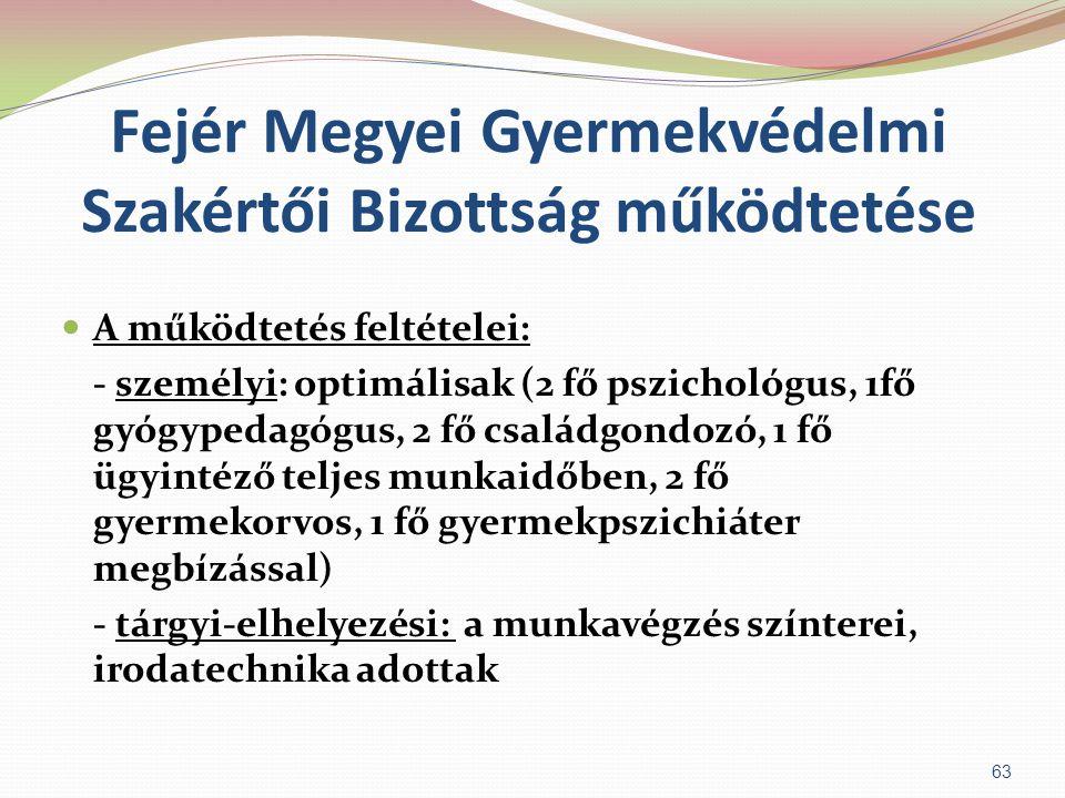 Fejér Megyei Gyermekvédelmi Szakértői Bizottság működtetése  A működtetés feltételei: - személyi: optimálisak (2 fő pszichológus, 1fő gyógypedagógus,
