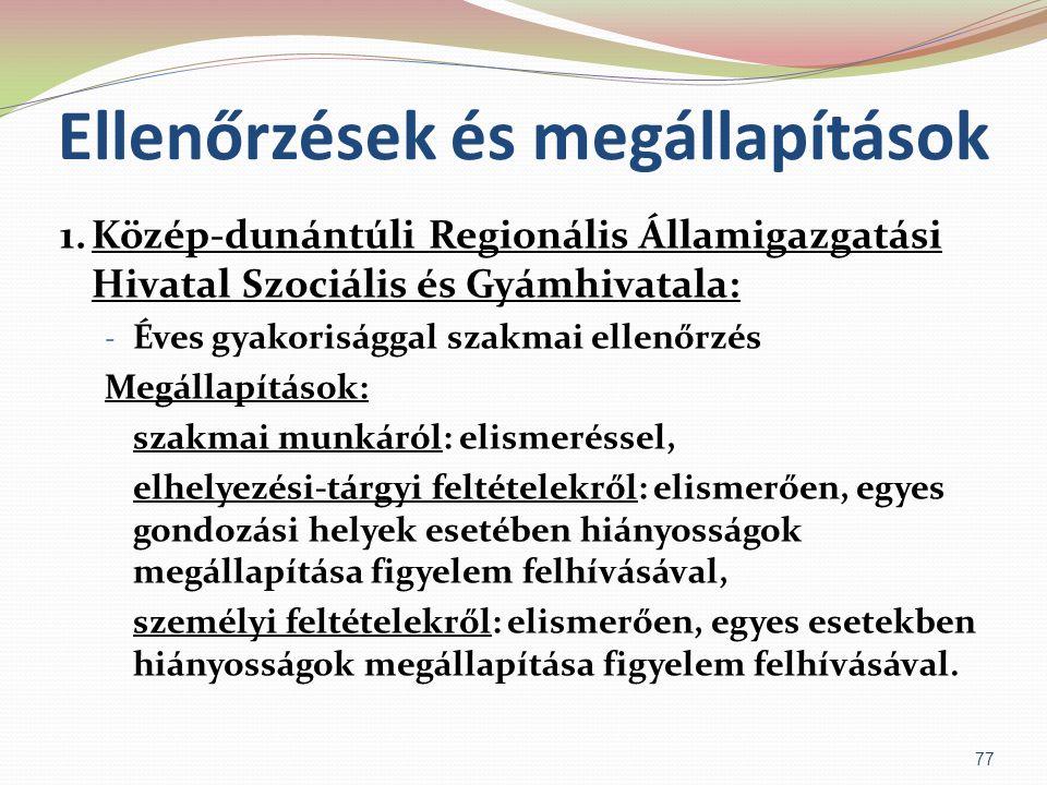 Ellenőrzések és megállapítások 1.Közép-dunántúli Regionális Államigazgatási Hivatal Szociális és Gyámhivatala: - Éves gyakorisággal szakmai ellenőrzés