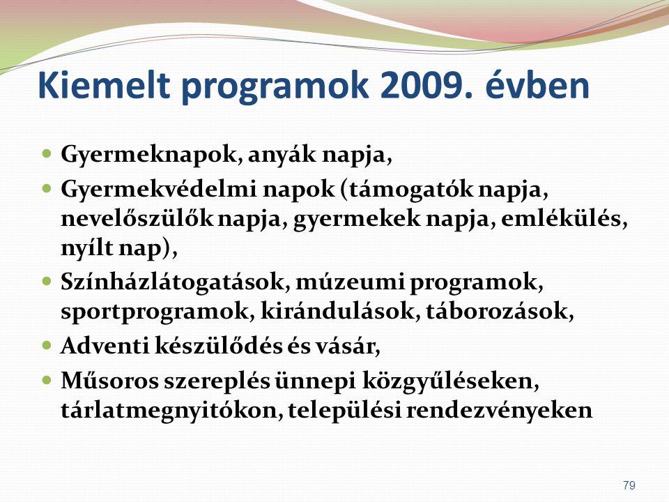 Kiemelt programok 2009. évben  Gyermeknapok, anyák napja,  Gyermekvédelmi napok (támogatók napja, nevelőszülők napja, gyermekek napja, emlékülés, ny