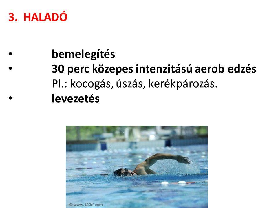 3. HALADÓ • bemelegítés • 30 perc közepes intenzitású aerob edzés Pl.: kocogás, úszás, kerékpározás. • levezetés