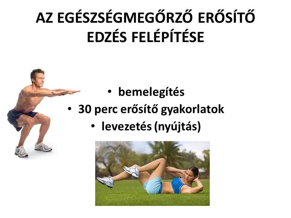 AZ EGÉSZSÉGMEGŐRZŐ ERŐSÍTŐ EDZÉS FELÉPÍTÉSE • bemelegítés • 30 perc erősítő gyakorlatok • levezetés (nyújtás)
