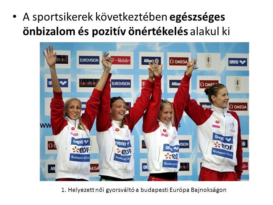 • A sportsikerek következtében egészséges önbizalom és pozitív önértékelés alakul ki 1. Helyezett női gyorsváltó a budapesti Európa Bajnokságon