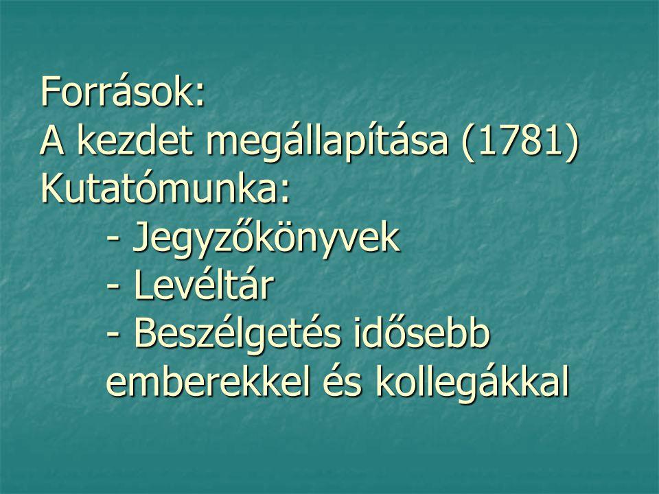 Források: A kezdet megállapítása (1781) Kutatómunka: - Jegyzőkönyvek - Levéltár - Beszélgetés idősebb emberekkel és kollegákkal