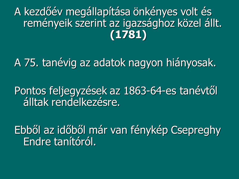 A kezdőév megállapítása önkényes volt és reményeik szerint az igazsághoz közel állt. (1781) A 75. tanévig az adatok nagyon hiányosak. Pontos feljegyzé