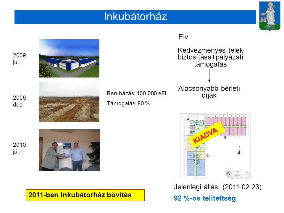 Kedvezményes telek biztosítása+pályázati támogatás Alacsonyabb bérleti díjak Jelenlegi állás: (2011.02.23) 92 %-os telítettség Elv: Inkubátorház KIADVA 2011-ben Inkubátorház bővítés Beruházás: 400.000 eFt Támogatás: 80 % 2009.