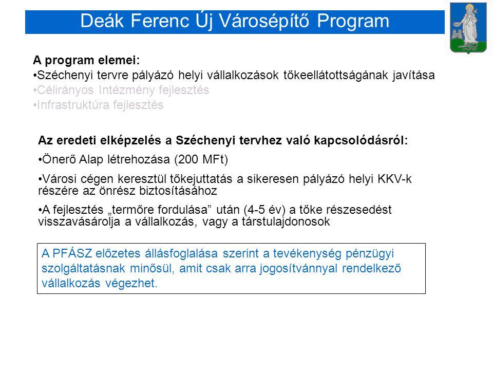 """Deák Ferenc Új Városépítő Program A program elemei: •Széchenyi tervre pályázó helyi vállalkozások tőkeellátottságának javítása •Célirányos Intézmény fejlesztés •Infrastruktúra fejlesztés Az eredeti elképzelés a Széchenyi tervhez való kapcsolódásról: •Önerő Alap létrehozása (200 MFt) •Városi cégen keresztül tőkejuttatás a sikeresen pályázó helyi KKV-k részére az önrész biztosításához •A fejlesztés """"termőre fordulása után (4-5 év) a tőke részesedést visszavásárolja a vállalkozás, vagy a társtulajdonosok A PFÁSZ előzetes állásfoglalása szerint a tevékenység pénzügyi szolgáltatásnak minősül, amit csak arra jogosítvánnyal rendelkező vállalkozás végezhet."""