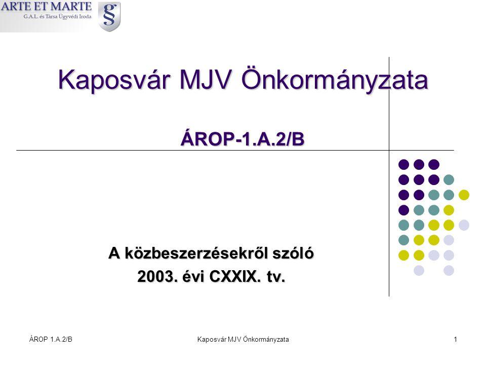 ÁROP 1.A.2/BKaposvár MJV Önkormányzata1 Kaposvár MJV Önkormányzata ÁROP-1.A.2/B A közbeszerzésekről szóló 2003. évi CXXIX. tv.