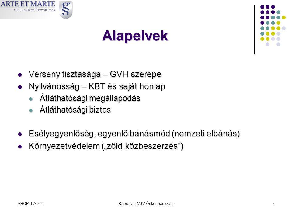 ÁROP 1.A.2/BKaposvár MJV Önkormányzata2 Alapelvek  Verseny tisztasága – GVH szerepe  Nyilvánosság – KBT és saját honlap  Átláthatósági megállapodás