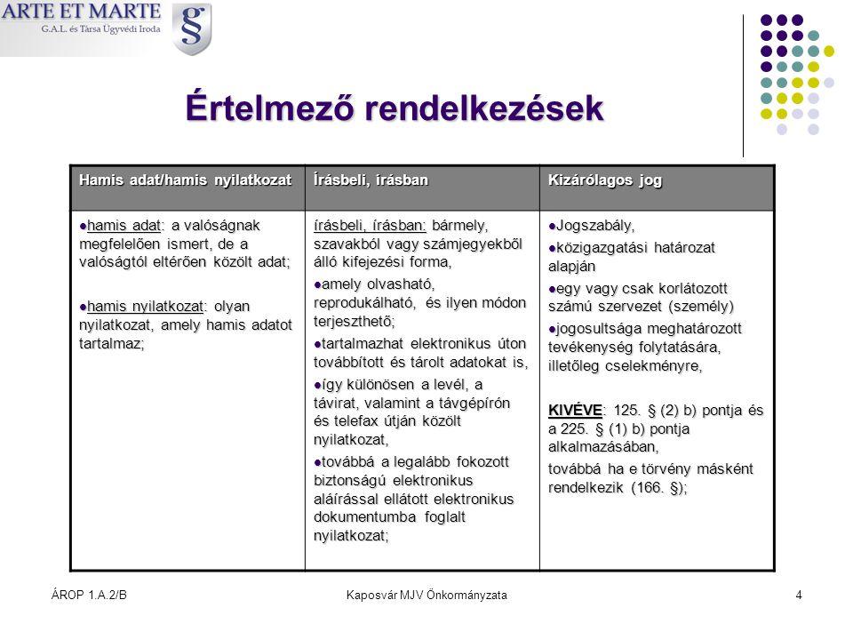 ÁROP 1.A.2/BKaposvár MJV Önkormányzata4 Értelmező rendelkezések Hamis adat/hamis nyilatkozat Írásbeli, írásban Kizárólagos jog  hamis adat: a valóság