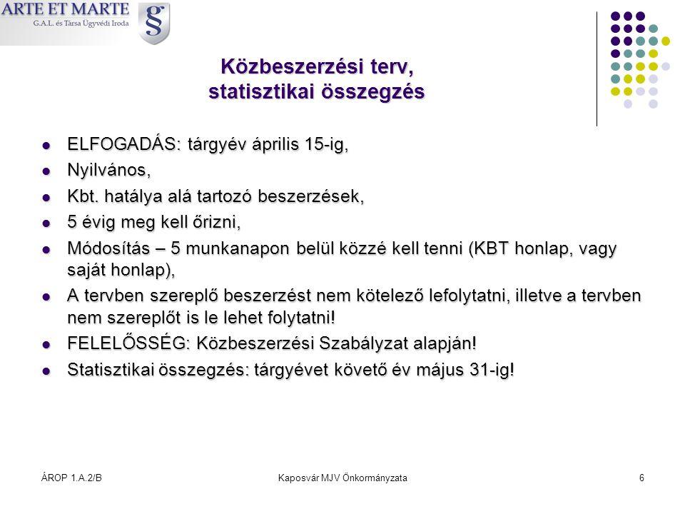 ÁROP 1.A.2/BKaposvár MJV Önkormányzata6 Közbeszerzési terv, statisztikai összegzés  ELFOGADÁS: tárgyév április 15-ig,  Nyilvános,  Kbt. hatálya alá