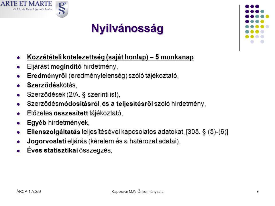 ÁROP 1.A.2/BKaposvár MJV Önkormányzata9 Nyilvánosság  Közzétételi kötelezettség (saját honlap) – 5 munkanap  Eljárást megindító hirdetmény,  Eredmé
