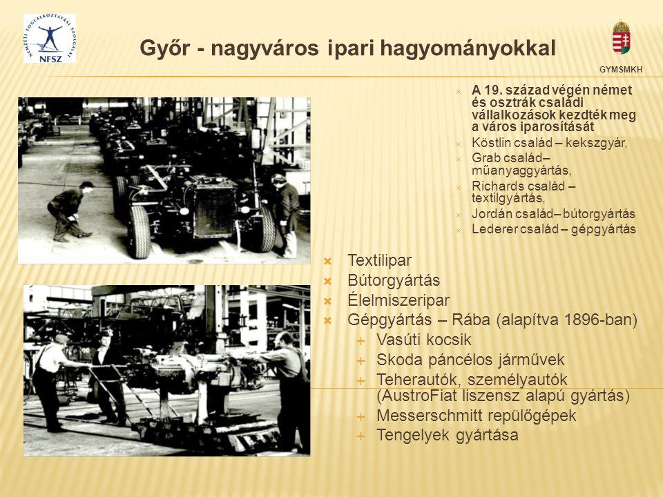 Győr - nagyváros ipari hagyományokkal  A 19. század végén német és osztrák családi vállalkozások kezdték meg a város iparosítását  Köstlin család –