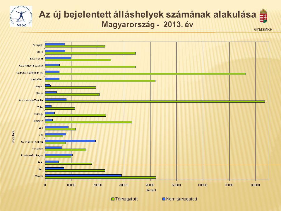 GYMSMKH Az új bejelentett álláshelyek számának alakulása Magyarország - 2013. év