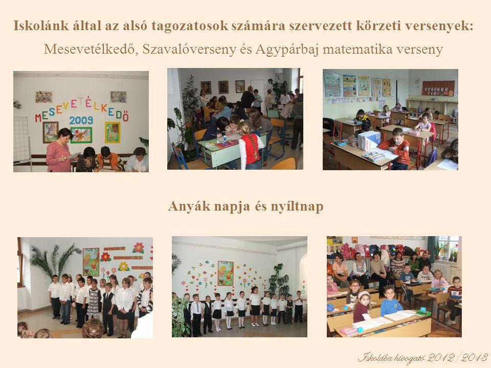 Iskolánk által az alsó tagozatosok számára szervezett körzeti versenyek: Mesevetélkedő, Szavalóverseny és Agypárbaj matematika verseny Anyák napja és nyíltnap Iskolába hívogató 2012/2013