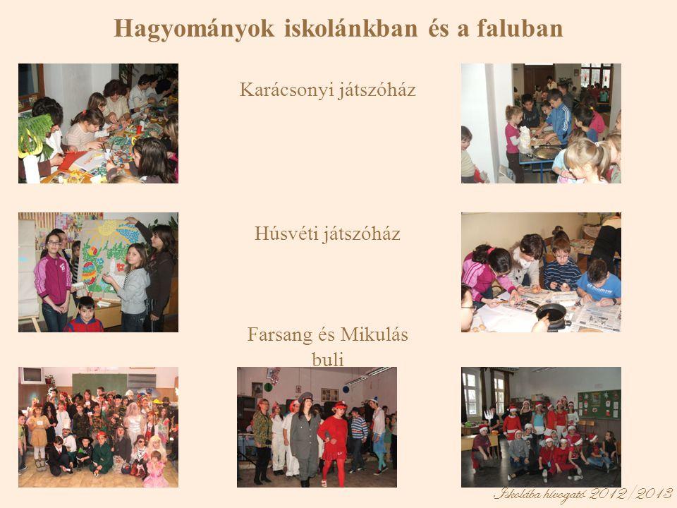 Iskolába hívogató 2012/2013 Hagyományok iskolánkban és a faluban Karácsonyi játszóház Húsvéti játszóház Farsang és Mikulás buli