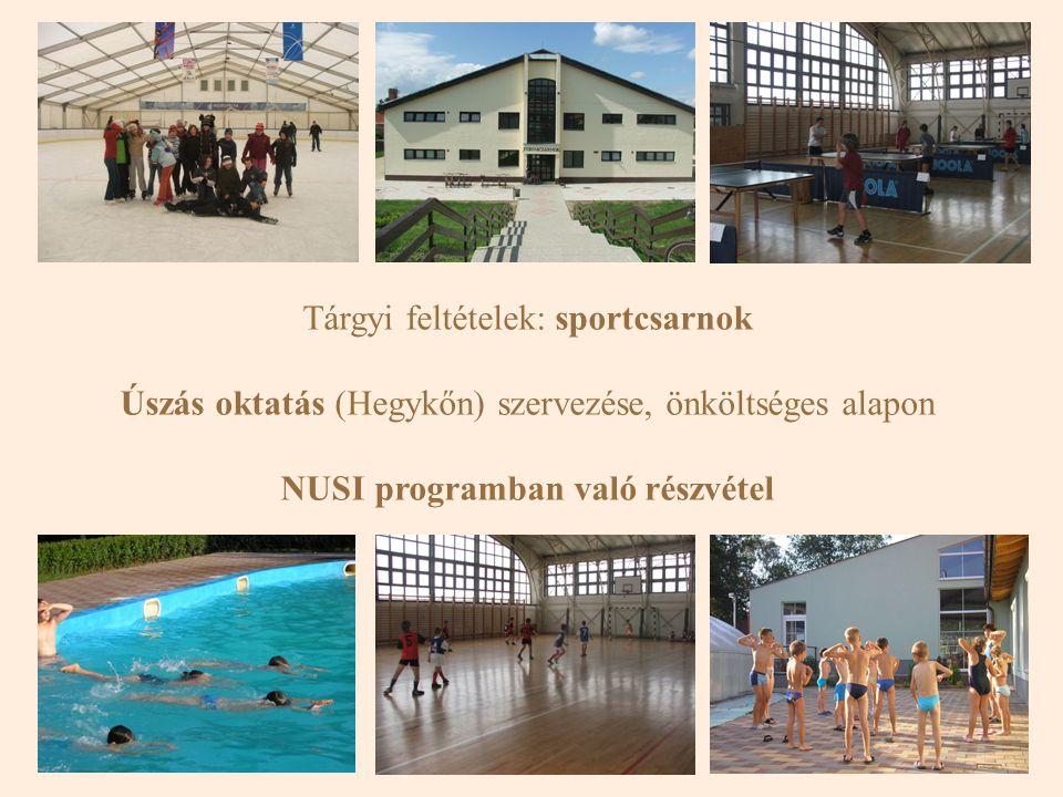 Tárgyi feltételek: sportcsarnok Úszás oktatás (Hegykőn) szervezése, önköltséges alapon NUSI programban való részvétel