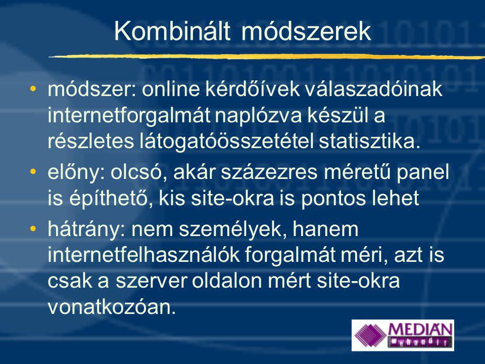 Kombinált módszerek •módszer: online kérdőívek válaszadóinak internetforgalmát naplózva készül a részletes látogatóösszetétel statisztika.