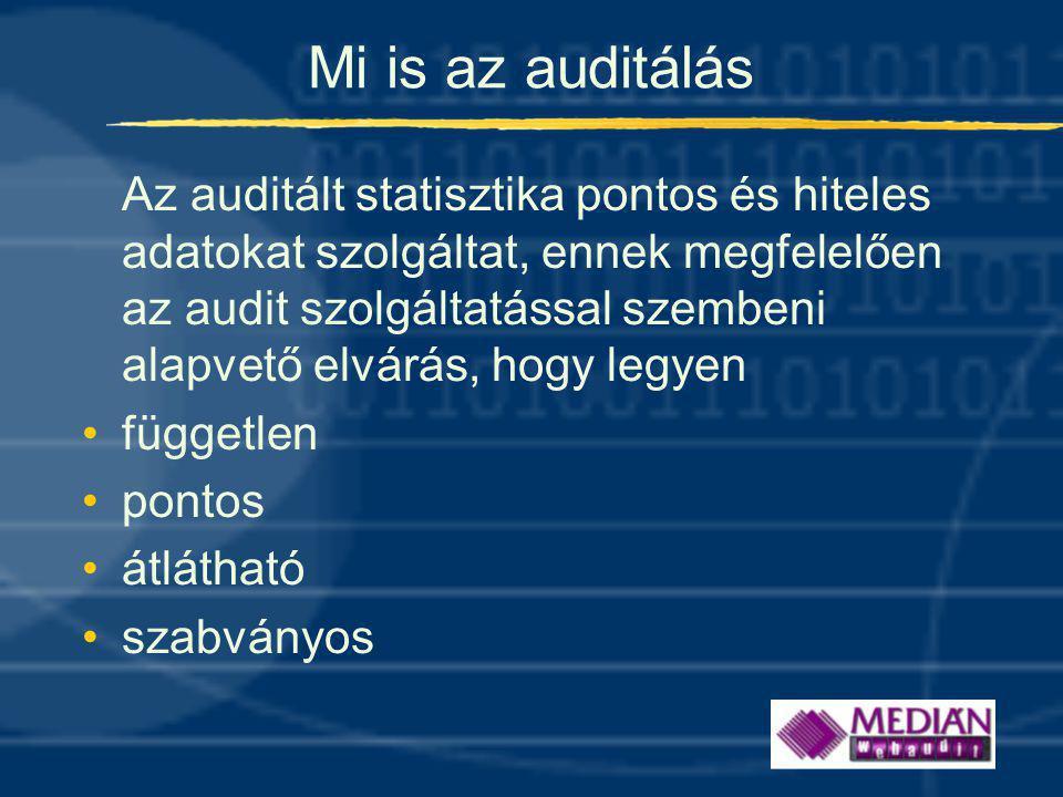 Mi is az auditálás Az auditált statisztika pontos és hiteles adatokat szolgáltat, ennek megfelelően az audit szolgáltatással szembeni alapvető elvárás, hogy legyen •független •pontos •átlátható •szabványos