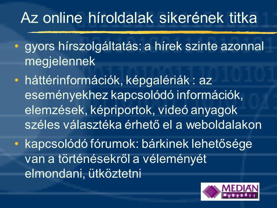 Az online híroldalak sikerének titka •gyors hírszolgáltatás: a hírek szinte azonnal megjelennek •háttérinformációk, képgalériák : az eseményekhez kapcsolódó információk, elemzések, képriportok, videó anyagok széles választéka érhető el a weboldalakon •kapcsolódó fórumok: bárkinek lehetősége van a történésekről a véleményét elmondani, ütköztetni