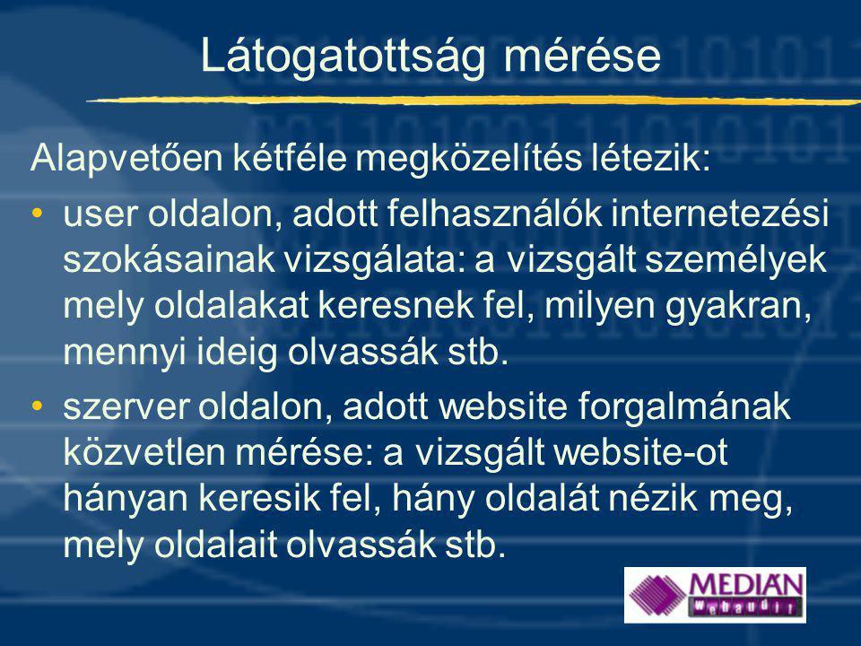 Mérési módszerek user oldalon: •látogatói panel internetezésének mérése •személyes vagy online véleménykutatás szerver oldalon •a webszerverek forgalmának feldolgozása •kliens oldali böngészők forgalmának mérése kombinált módszerek •online kérdőívek + böngésző alapú mérés