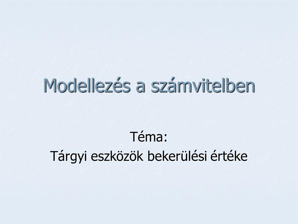Modellezés a számvitelben Téma: Tárgyi eszközök bekerülési értéke