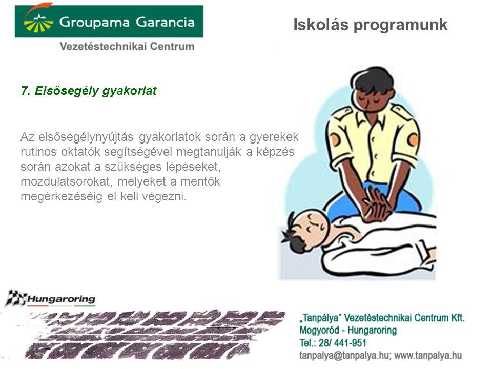 7. Elsősegély gyakorlat Az elsősegélynyújtás gyakorlatok során a gyerekek rutinos oktatók segítségével megtanulják a képzés során azokat a szükséges l