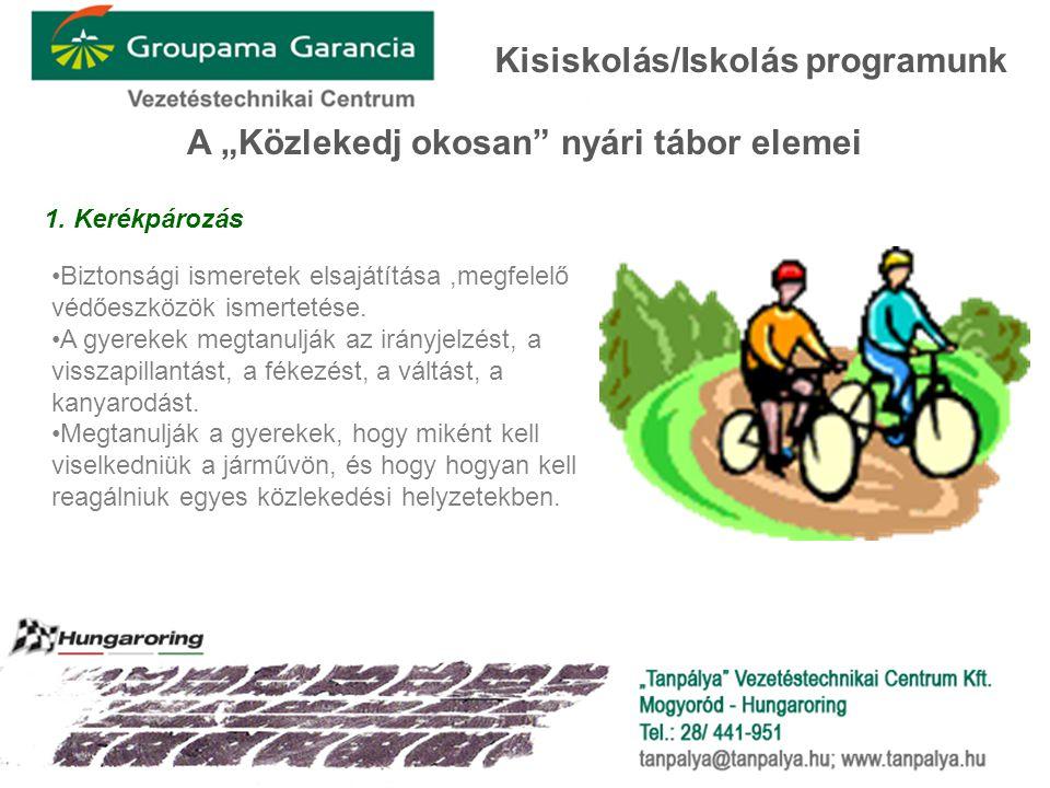 """A """"Közlekedj okosan"""" nyári tábor elemei 1. Kerékpározás Kisiskolás/Iskolás programunk •Biztonsági ismeretek elsajátítása,megfelelő védőeszközök ismert"""