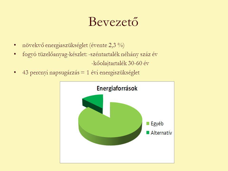 Bevezető •növekvő energiaszükséglet (évente 2,3 %) •fogyó tüzelőanyag-készlet: -széntartalék néhány száz év -kőolajtartalék 30-60 év •43 percnyi napsugárzás = 1 évi energiszükséglet
