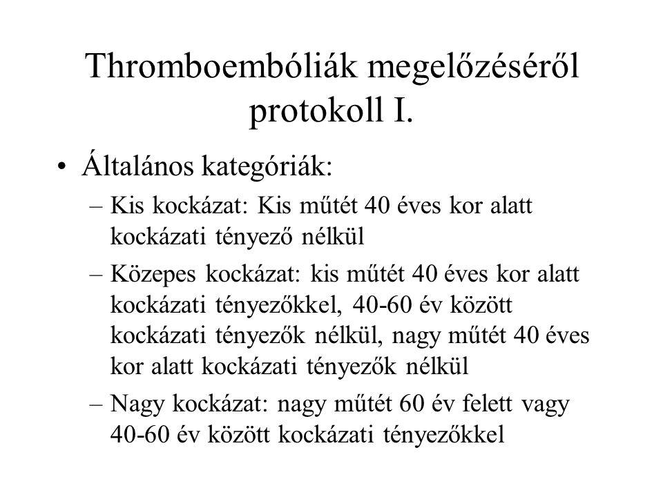 Thromboembóliák megelőzéséről protokoll I. •Általános kategóriák: –Kis kockázat: Kis műtét 40 éves kor alatt kockázati tényező nélkül –Közepes kockáza