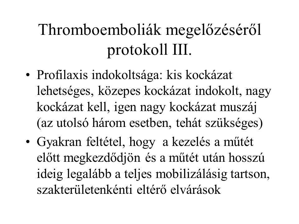 Thromboemboliák megelőzéséről protokoll III. •Profilaxis indokoltsága: kis kockázat lehetséges, közepes kockázat indokolt, nagy kockázat kell, igen na