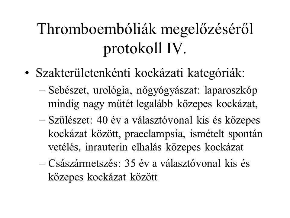 Thromboembóliák megelőzéséről protokoll IV. •Szakterületenkénti kockázati kategóriák: –Sebészet, urológia, nőgyógyászat: laparoszkóp mindig nagy műtét