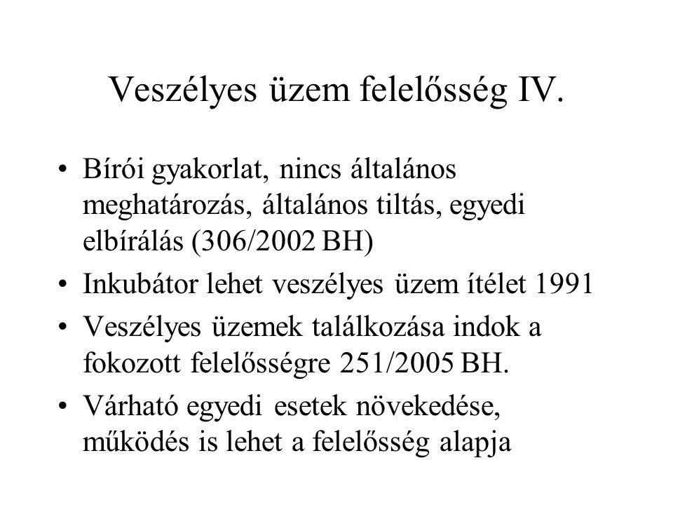 Veszélyes üzem felelősség IV. •Bírói gyakorlat, nincs általános meghatározás, általános tiltás, egyedi elbírálás (306/2002 BH) •Inkubátor lehet veszél