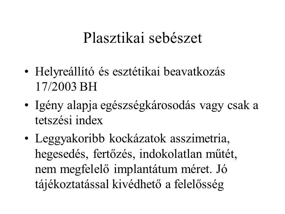 Plasztikai sebészet •Helyreállító és esztétikai beavatkozás 17/2003 BH •Igény alapja egészségkárosodás vagy csak a tetszési index •Leggyakoribb kockáz