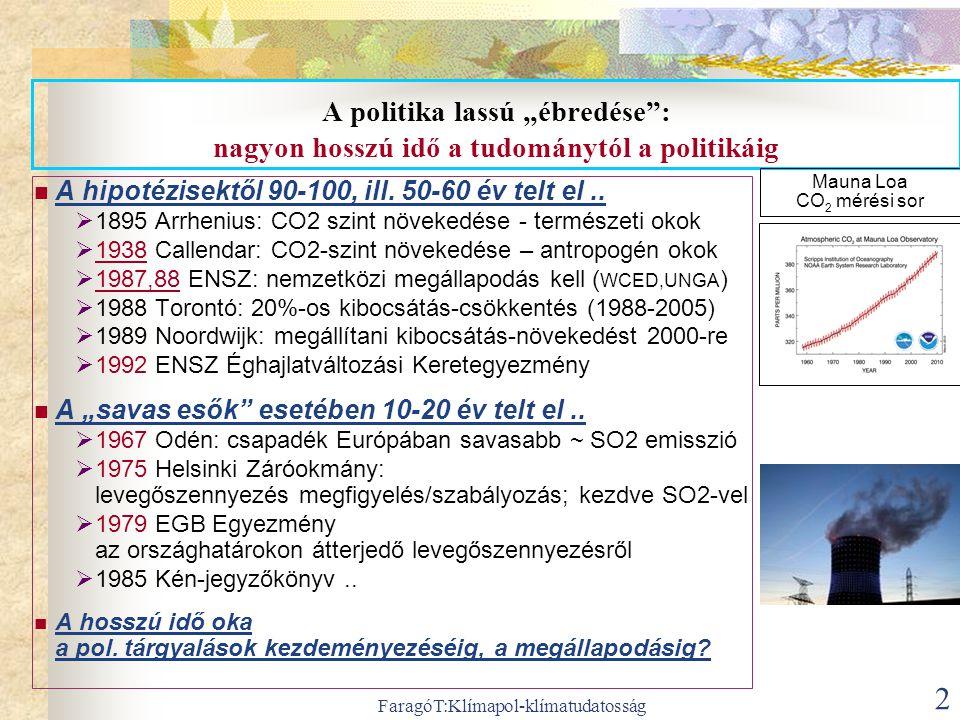 """FaragóT:Klímapol-klímatudatosság 2 A politika lassú """"ébredése"""": nagyon hosszú idő a tudománytól a politikáig  A hipotézisektől 90-100, ill. 50-60 év"""
