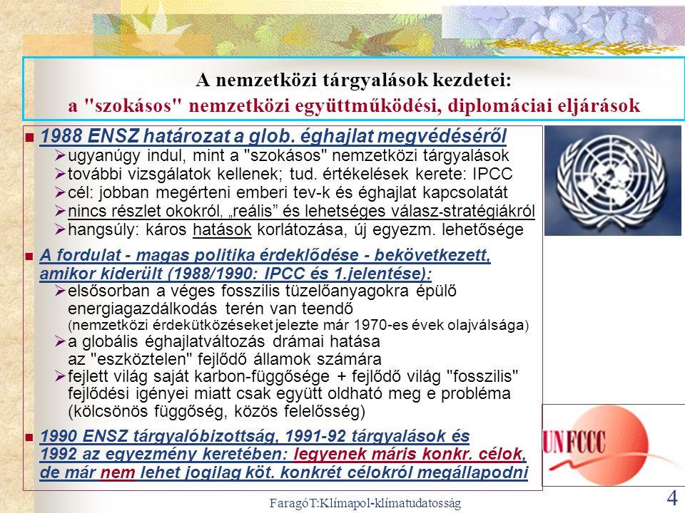 FaragóT:Klímapol-klímatudatosság 4 A nemzetközi tárgyalások kezdetei: a szokásos nemzetközi együttműködési, diplomáciai eljárások  1988 ENSZ határozat a glob.