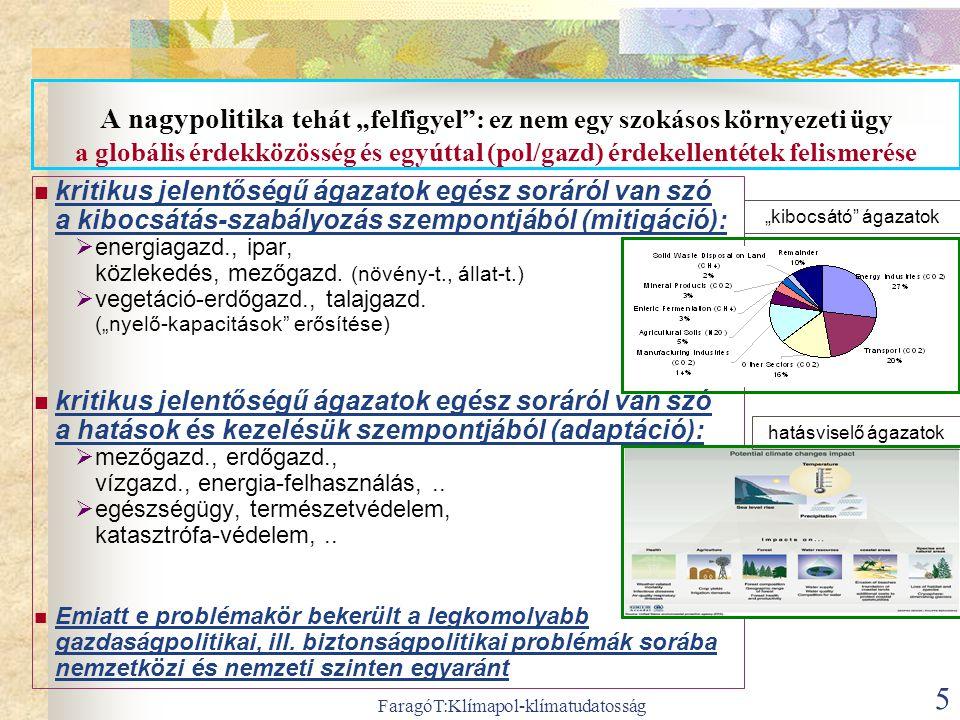 """FaragóT:Klímapol-klímatudatosság 5 A nagypolitika tehát """"felfigyel"""": ez nem egy szokásos környezeti ügy a globális érdekközösség és egyúttal (pol/gazd"""