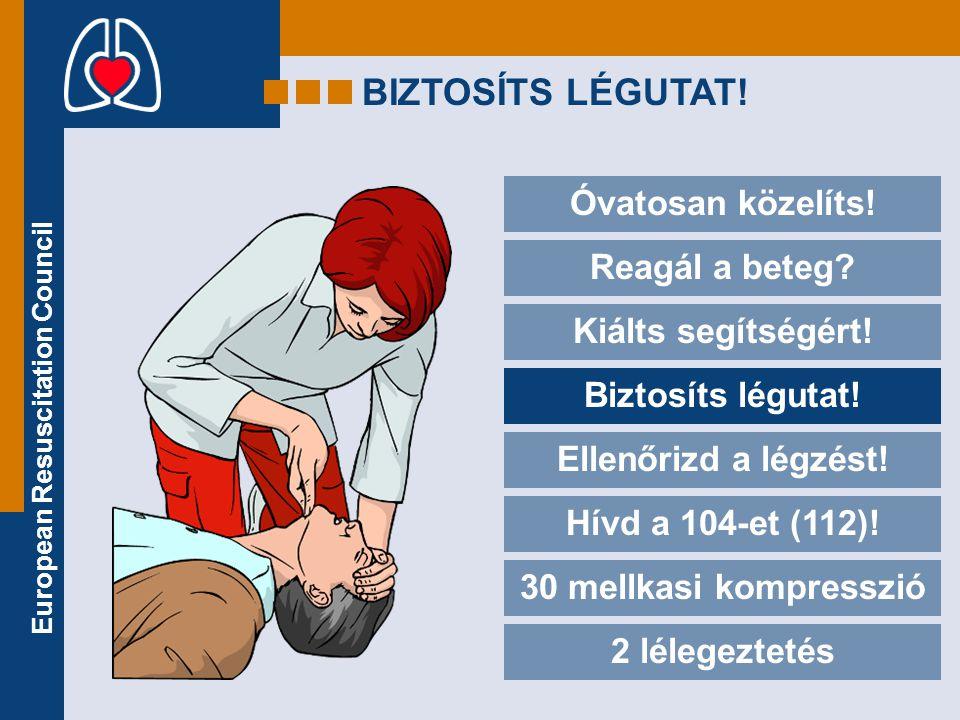 European Resuscitation Council BIZTOSÍTS LÉGUTAT! Óvatosan közelíts! Reagál a beteg? Kiálts segítségért! Biztosíts légutat! Ellenőrizd a légzést! Hívd