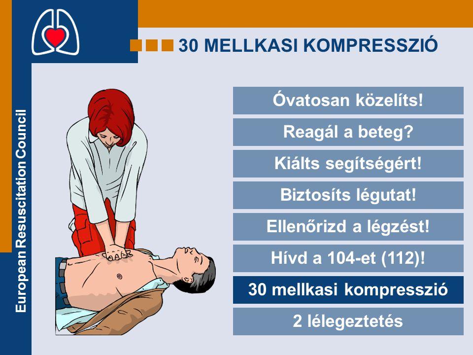 European Resuscitation Council 30 MELLKASI KOMPRESSZIÓ Óvatosan közelíts! Reagál a beteg? Kiálts segítségért! Biztosíts légutat! Ellenőrizd a légzést!
