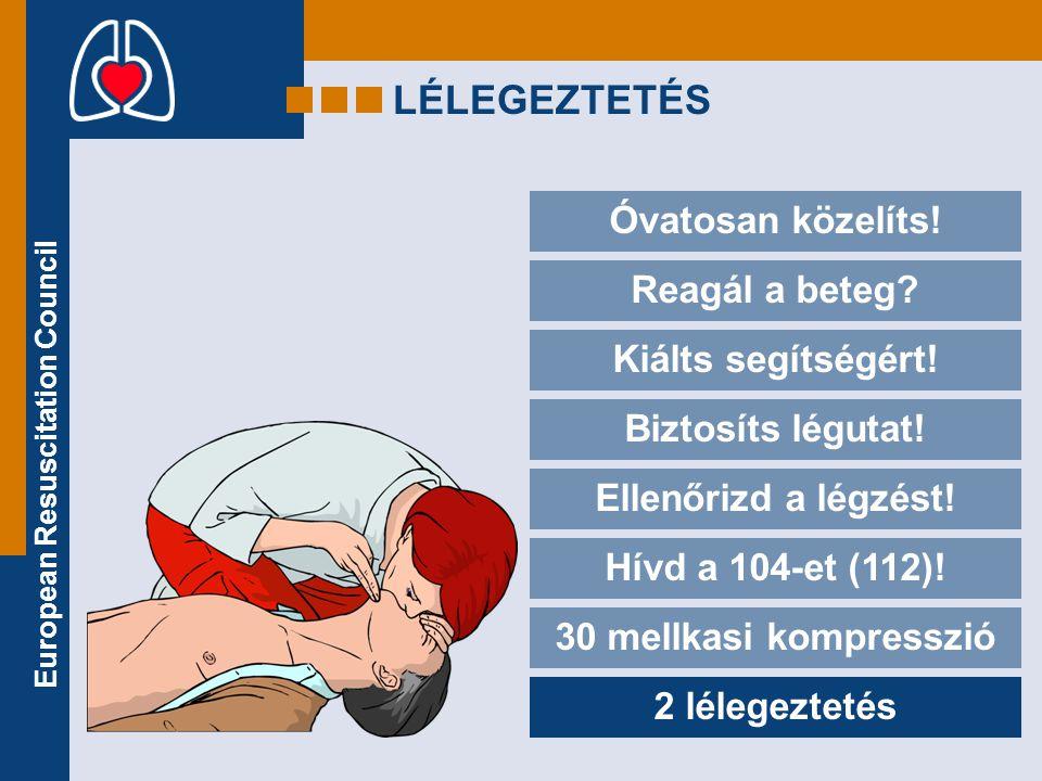 European Resuscitation Council LÉLEGEZTETÉS Óvatosan közelíts! Reagál a beteg? Kiálts segítségért! Biztosíts légutat! Ellenőrizd a légzést! Hívd a 104