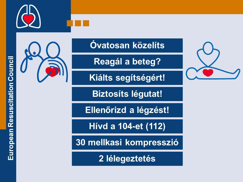 European Resuscitation Council •Tedd a tenyered élét a mellkas közepére.