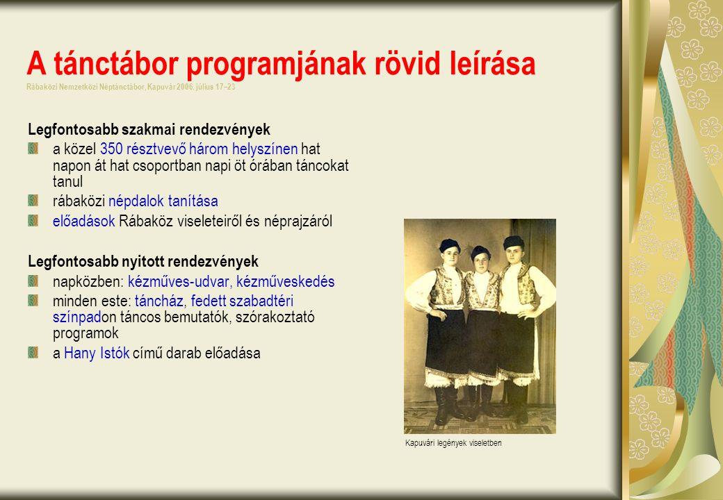 A tánctábor programjának rövid leírása Rábaközi Nemzetközi Néptánctábor, Kapuvár 2006.