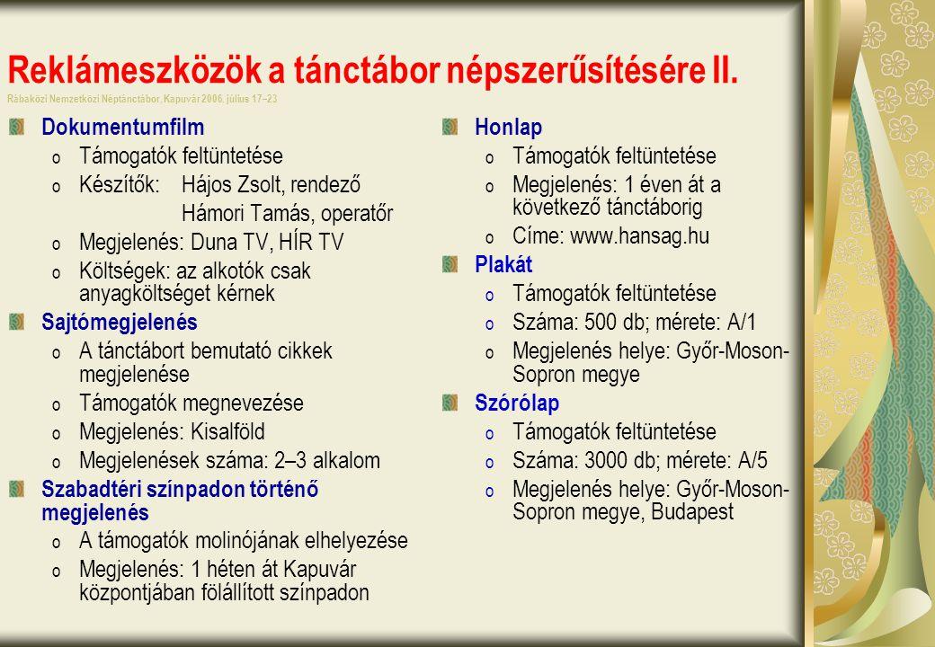 Reklámeszközök a tánctábor népszerűsítésére II. Rábaközi Nemzetközi Néptánctábor, Kapuvár 2006.