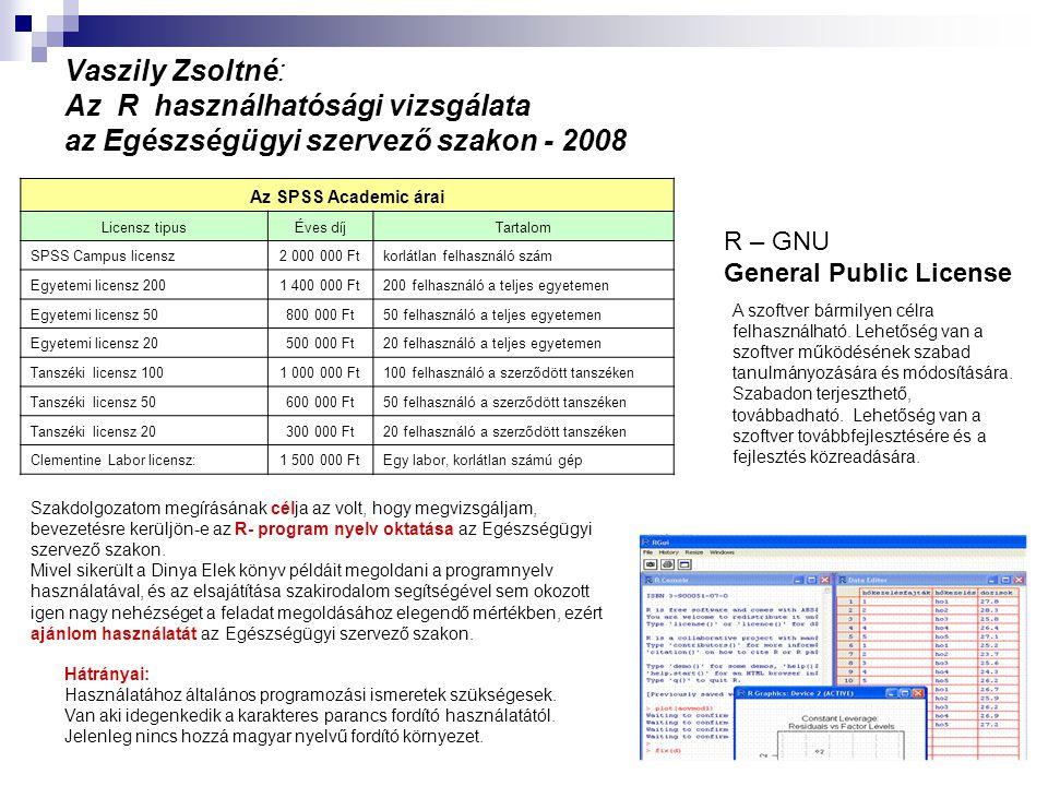 Vaszily Zsoltné: Az R használhatósági vizsgálata az Egészségügyi szervező szakon - 2008 Az SPSS Academic árai Licensz tipusÉves díjTartalom SPSS Campu