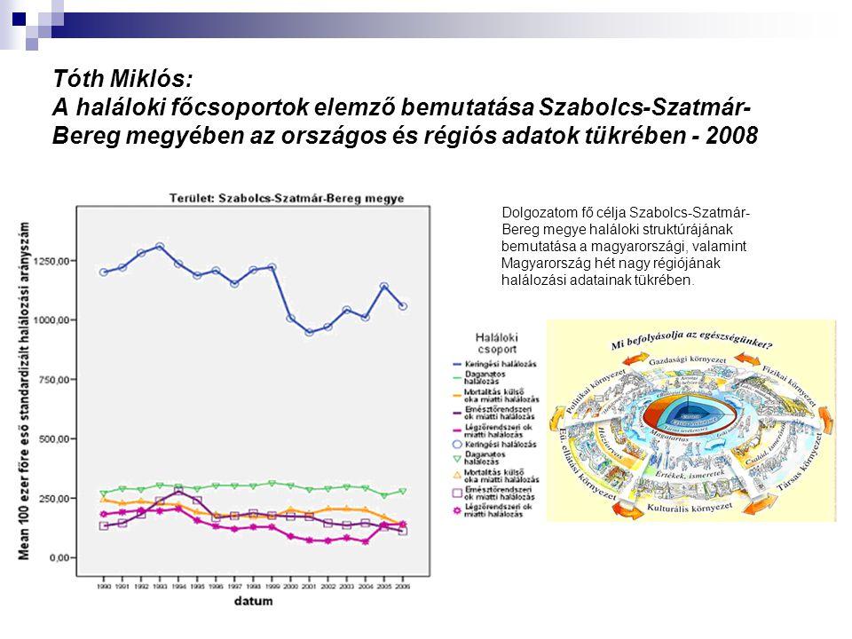 Tóth Miklós: A haláloki főcsoportok elemző bemutatása Szabolcs-Szatmár- Bereg megyében az országos és régiós adatok tükrében - 2008 Dolgozatom fő célj