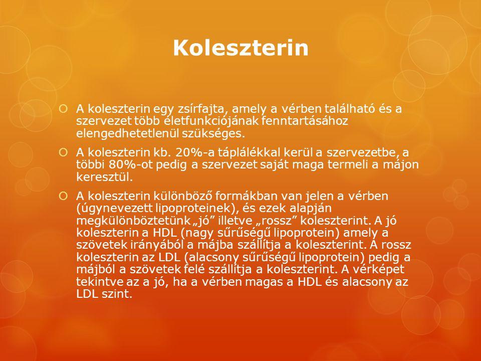 Koleszterin  A koleszterin egy zsírfajta, amely a vérben található és a szervezet több életfunkciójának fenntartásához elengedhetetlenül szükséges. 
