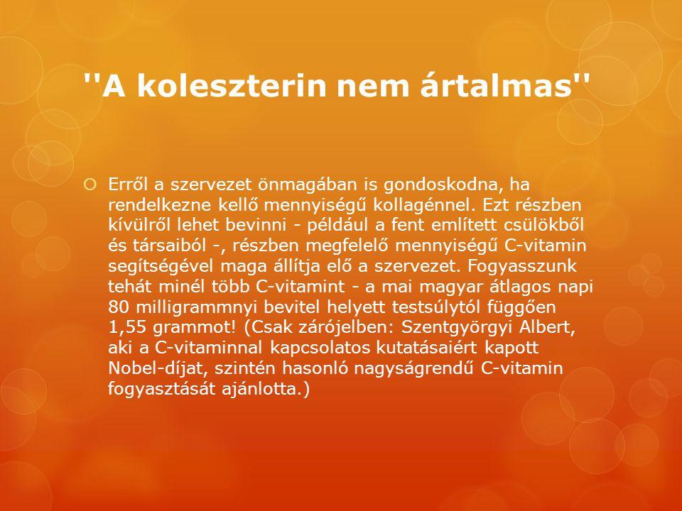 ''A koleszterin nem ártalmas''  Erről a szervezet önmagában is gondoskodna, ha rendelkezne kellő mennyiségű kollagénnel. Ezt részben kívülről lehet b