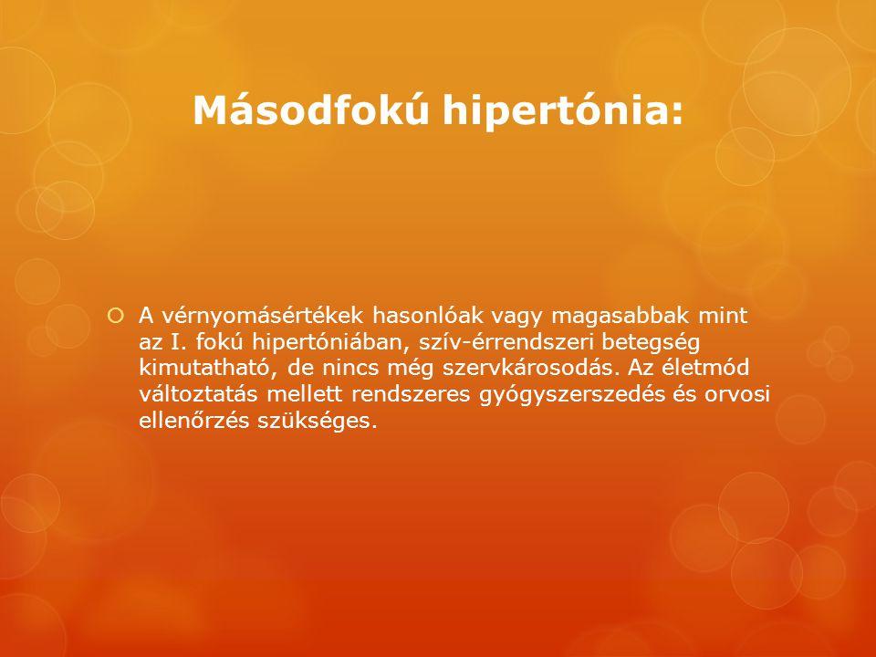 Másodfokú hipertónia:  A vérnyomásértékek hasonlóak vagy magasabbak mint az I. fokú hipertóniában, szív-érrendszeri betegség kimutatható, de nincs mé