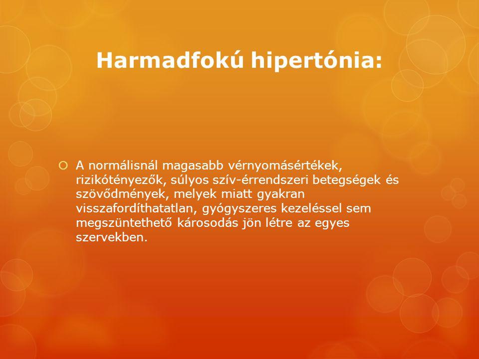 Harmadfokú hipertónia:  A normálisnál magasabb vérnyomásértékek, rizikótényezők, súlyos szív-érrendszeri betegségek és szövődmények, melyek miatt gya
